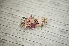 Ozdoby do vlasov - Kvetinový ružový polvenček - 10536779_