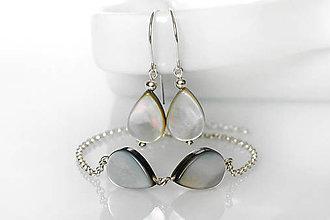 Sady šperkov - perleťové kvapky - set / Ag 925 - 10539902_