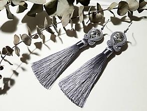 Náušnice - Sivé náušnice so strapcom - soutache earring - 10539263_