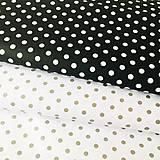 Textil - čierno-biele bodky, 100 % bavlna, šírka 140 cm - 10537340_