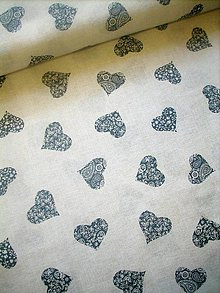Textil - Potahovka - modré srdce na režné - 10538618_