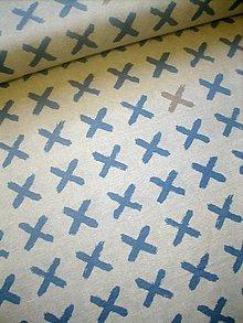 Textil - Dekoračná látka - potahovka - modré krížiky - 10538748_