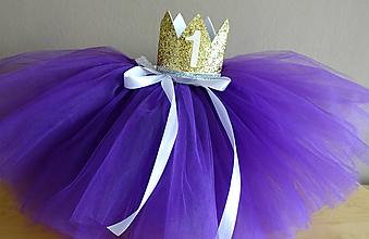 Detské súpravy - Set suknička plus korunka na 1.narodeniny - 10538122_