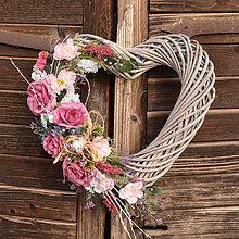 Dekorácie - Veľké srdce s ružami (XL) - 10536738_