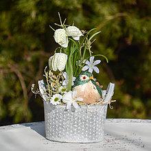 Dekorácie - Jarná dekorácia s vtáčikom - 10538249_