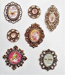 Polotovary - kovové medailóny - sada 2 - 10537390_