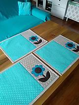 Úžitkový textil - Prestieranie Tyrkys/Hnedá - 10537659_