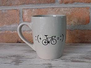 Nádoby - Sivý hrnček - Bike :) - 10537972_