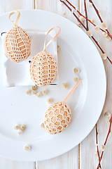 Dekorácie - sada háčkovaných vajíčok, béžové - 10537048_