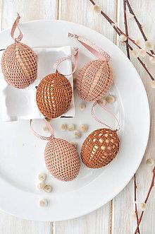 Dekorácie - sada háčkovaných vajíčok, hnedé odtiene - 10536988_