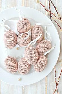 Dekorácie - háčkované vajíčka - béžové - 10537216_