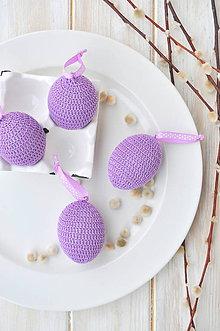 Dekorácie - háčkované vajíčko - fialové - 10537275_