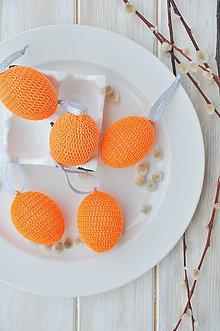 Dekorácie - háčkované vajíčko - oranžové - 10537356_