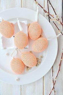 Dekorácie - háčkované vajíčko - lososové - 10537368_