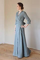 Šaty - Dámske ľanové zavinovacie šaty CHARLOTTE - dostupné v 30 farbách - 10538584_