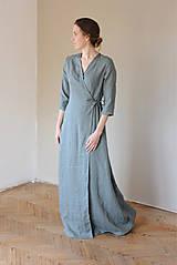 Šaty - Dámske ľanové zavinovacie šaty CHARLOTTE - dostupné v 30 farbách - 10538588_