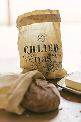 - Ľanové voskované vrecko na chlieb/pečivo - 10539925_