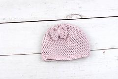 Detské čiapky - Bledoružová čiapka s mašličkou EXTRA FINE - 10538441_