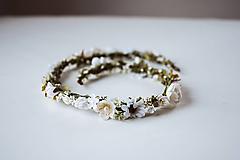 Ozdoby do vlasov - Biely romantický svadobný pletenec - VÝPREDAJ - 10540162_