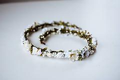 Ozdoby do vlasov - Biely romantický svadobný pletenec - VÝPREDAJ - 10540163_