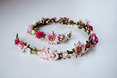 Ozdoby do vlasov - Ružový romantický svadobný pletenec - VÝPREDAJ - 10540164_