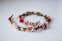 Ozdoby do vlasov - Ružový romantický svadobný pletenec - VÝPREDAJ - 10540165_