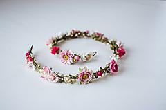 Ozdoby do vlasov - Ružový romantický svadobný pletenec - VÝPREDAJ - 10540166_