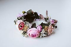 Ozdoby do vlasov - Divoký, romantický kvetinový venček - VÝPREDAJ - 10540173_