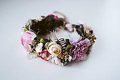 Ozdoby do vlasov - Divoký, romantický kvetinový venček - VÝPREDAJ - 10540174_
