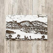 Obrazy - Historická Bratislava 16. storočia - gravírovaný obraz na dreve - 10538126_