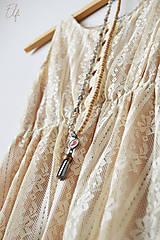 Náhrdelníky - Náhrdelník z drevených a sklenených korálok - 10539935_