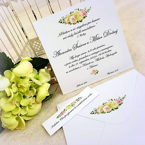"""Svadobné oznámenie """"Letná hortenzia"""" (13,2 x 13,2 cm)"""