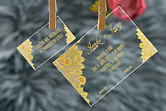 Nezaradené - Svadobné oznámenia a pozvánky - transparentný plast (9x5) - 10538628_