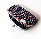 Peňaženky - Peňaženka XL Bodky (hexagóny) na modrej - 10536890_