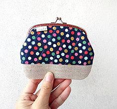 Peňaženky - Peňaženka XL Bodky (hexagóny) na modrej - 10536889_