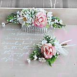 Súprava s ružovou ružičkou a sukulentom - hrebienok a pierko