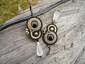 Náušnice - Soutache náušnice Black&Gold elegant - 10542855_