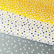 Textil - žlto-sivé bodky, 100 % bavlna Nemecko, šírka 140 cm - 10541110_