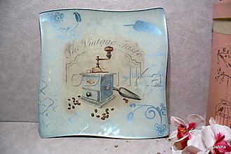 Nádoby - sklenená tácka Mlynček - modrá - 10542744_