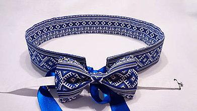 Opasky - Folkový set modrý akoby vyšívaný - opasok + motýlik - 10540537_