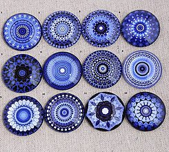 Komponenty - KA106 Kabošon etno modrý 12 mm - 10541496_