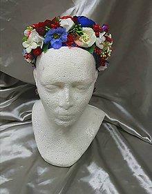 Ozdoby do vlasov - Farebná kvetinová parta na čepčenie - 10541187_
