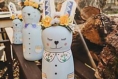 Dekorácie - Drevený veľkonočný zajačik - 10542989_