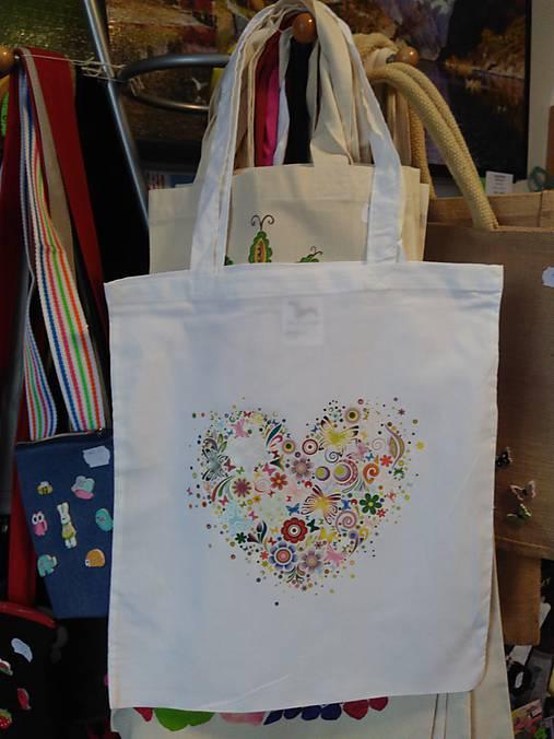 8c7340e6f Plátená nákupná taška so srdiečkom / rifloviny - SAShE.sk - Handmade ...