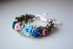 Ozdoby do vlasov - Divoký, romantický kvetinový venček - VÝPREDAJ - 10540205_