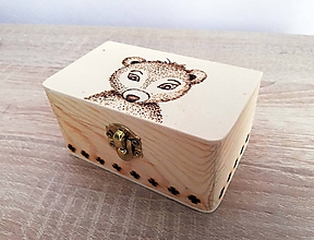 Krabičky - Box z prírodného dreva - Medvedík - 10542190_