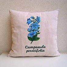 Úžitkový textil - Ľanová obliečka na vankúš Zvonček broskyňolistý/Campanula persicifolia - 10540759_