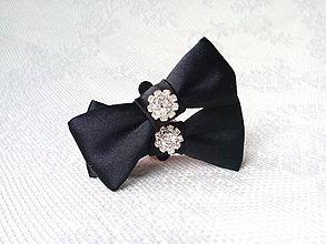 Obuv - Svadobné klipy na topánky (čierne) - 10544202_