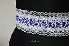 Opasky - Dámsky bielo modrý opasok s krajkou - 10544844_