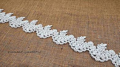 Galantéria - Krajka 60 mm vyšívaná perličkami - biela - 10543398_